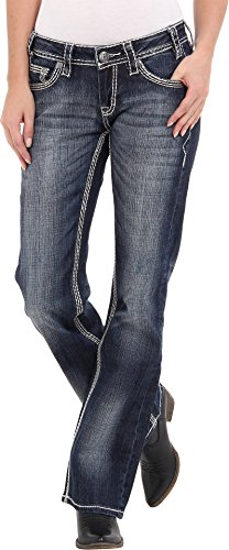 - Rock & Roll Cowgirl Heavy Embroidered Riding Dark Vintage Wash Jean, 34x32