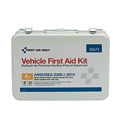 First Aid Only 90672 25 Person ANSI A+, Vehicle First Aid Kit, Metal, Weatherproof from Pac-Kit
