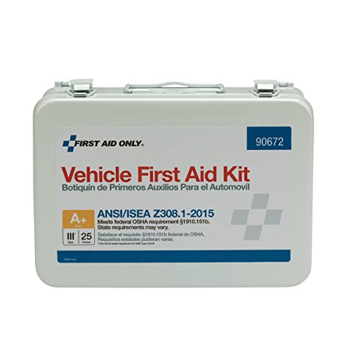 - Pac-Kit by First Aid Only 90672 25 Person ANSI A+, Vehicle First Aid Kit, Metal, Weatherproof