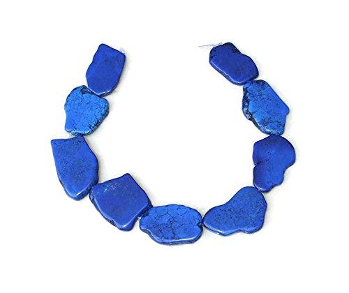 Lapis Blue Magnesite Slab Stone Beads - Free Form Slab - Lapis Blue with Black Veining - 30mm x 35+mm - 15 inch Strand