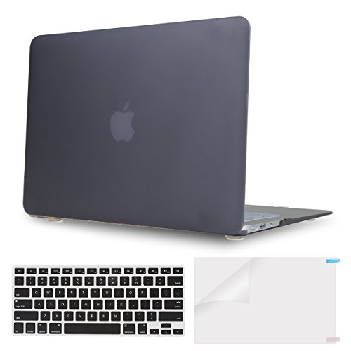 PUREBOX 3 in 1 Black AIR 13-inch Soft-Touch Plastic Hard Case Cover for Apple MacBook Air 13.3″ (A1466 & A1369) with Keyboard Cover and Screen Protector, Black