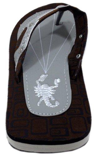 Schonfeld Hombres Thong Designer Print Escorpión Sandalias Marrón