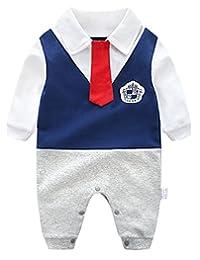 FEOYA Infant Baby Boy Overalls Romper Jumpsuit Gentlemen Wedding Birthday Tuxedo Outfits Cotton Onesie, 6-9 Months