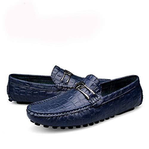 DATAIYANG Shoes Men Genuine Leather Fashion Brand Mens Loafers Leather Slip-On Men Shoes Breathable Boat Shoes Mocassin Homme,Navy Blue,10 -