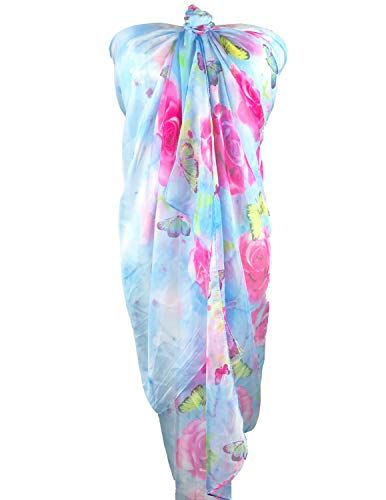 (NiNe JerMent Chiffon Beach Wrap,Womens Swimwear Printed Beach Sarong Wraps Plus Size Sarong - Beach Swimsuit Cover Ups (Light Blue))