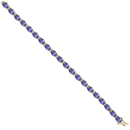 10K Yellow Gold Natural Tanzanite Oval Tennis Bracelet 7x5 mm stones, 7 -