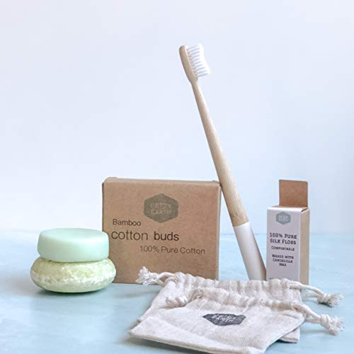 Zero Waste Personal Care Set| Plasticfree Bamboo Toothbrush, Dental Silk, Bamboo Cotton Buds, Shampoo and Conditoner Bar…