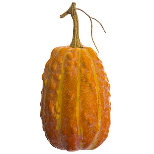 9''Hx4''W Artificial Weighted Gourd -Orange (pack of 12) by SilksAreForever