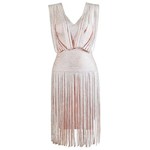 HLBCBG rayón de la mujer vendaje Bodycon vestido de cóctel vestido de fiesta 2405 Rosa