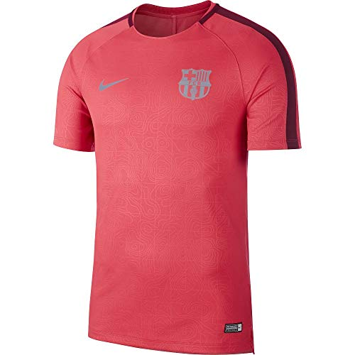 Nike 2018-2019 Barcelona Pre-Match Dry Training Football Soccer T-Shirt Jersey (Tropical Pink)