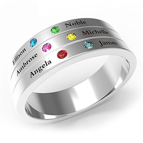 XXI0c2sd2s Family & Friendship Ring Engrave Names Custom 6 Birthstone 925 Sterling Silver Rings Gifts For Best Friends (silver-plated-base - 8) Sterling Silver Script Name Ring