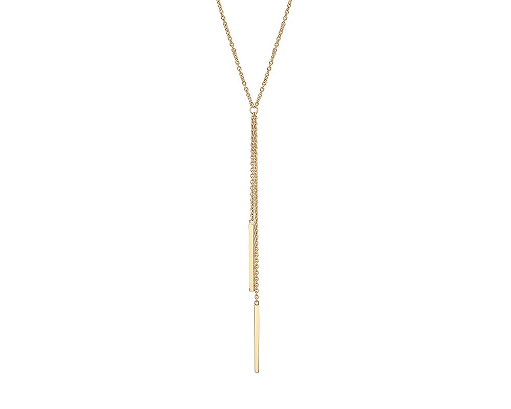 G&H Gold Plated Sterling Silver Y-Necklace with Double Bar Drop Detail
