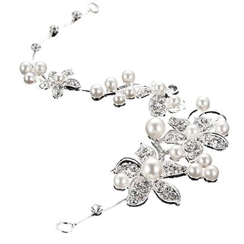 iShine Wedding Flower Headband Silver Rhinestone Pearl Bridal Tiara Hair Jewelry Hair Clip