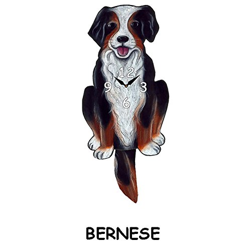 bernese dog clock with wagging tail