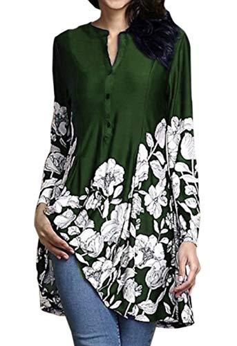 Blouse JackenLOVE Automne Vert T pissure et Hauts Fashion Tees Jumpers Long Femmes Tops Imprime Shirts Casual Tunique Chemisiers Longues Printemps Manches nRRwU