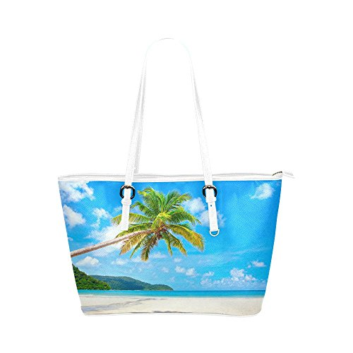 (InterestPrint Funny Palm Tree Tropical Beach Ocean Women's Leather Tote Shoulder Bags Handbags with Zipper)
