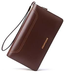 BOSTANTEN Leather Wallets Clutch Slim Credit Card Holder Wallet for Men Brown Size: One Size