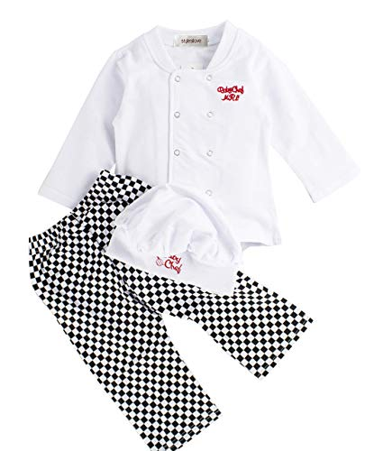 stylesilove Baby Unisex Cook Cuisine Chef Costume, Pants and Hat 3-pc (80/6-12 Months) White