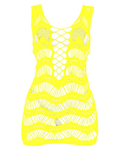 (LemonGirl Women Net Bodystocking Sleepwear for Ladies One Free Size Bodysuits Lingerie Stocking Yellow)
