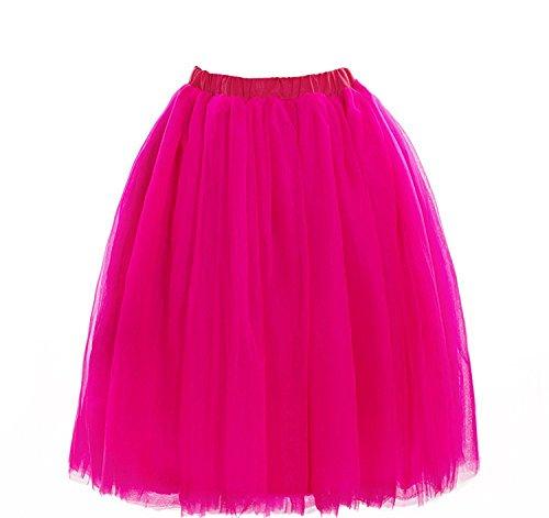 CoutureBridal? Femme Jupe Tutu Courte 5 Couches Elastic Ceinture Princesse Tulle 60cm Rose