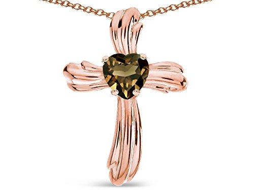 Star K Heart Shape 6mm Genuine Smoky Quartz Ribbed Cross Of Love Pendant Necklace 10k Rose Gold