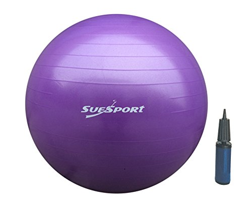 SUESPORT 55cm Anti-Burst Gym Ball Kit With Pump,3-Size Available, Purple