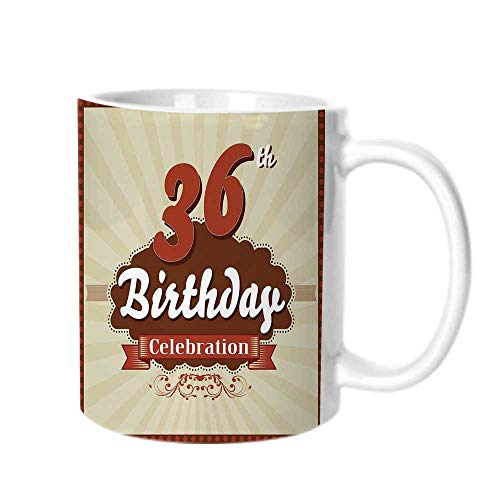 36th Birthday Decorations Fashion Coffee Cup,Birthday Celebration Invite Chocolate Wrap Like Image For office,One ()