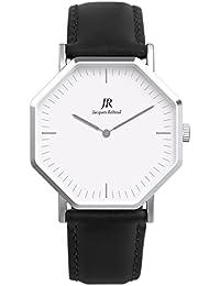 Jacques Reboul Premier Classic Silver Watch | St. Louis Unisex 41mm Black Leather Strap