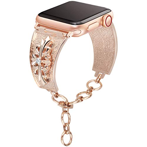 [Chrome Floral Version] Somoder Bling Bands Compatible with Apple Watch Band 42mm 44mm, Vintage Chain Jewelry Cuff Bracelet with Rhinestone Replacement for Iwatch Series 4/3/2/1, Sport Edition, Nike+ ()
