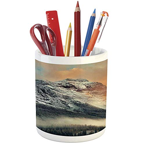 Pencil Pen Holder,National Parks Home Decor,Printed Ceramic Pencil Pen Holder for Desk Office Accessory,Snowy Mountain at Sunset Hazy Weather Magical Yoho Alberta Print