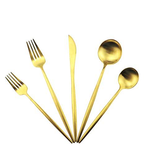 Matte Gold Silverware Set,Gugrida 5-Piece 18/10 Stainless Steel Satin Finish Flatware Set,Kitchen Utensil Set,Tableware…
