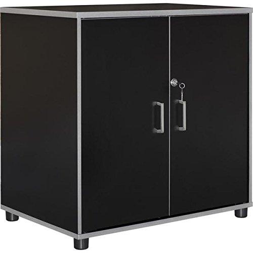 Altra SystemBuild Apollo Black 2 Door Base Cabinet, 30.69 x 29.69 x 19.69
