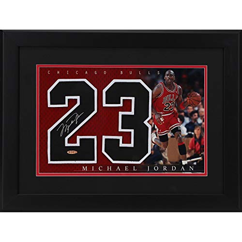 "Michael Jordan Chicago Bulls Framed Autographed 20"" x 24"" Career Achievements Jersey Back - Upper Deck Certified from Sports Memorabilia"