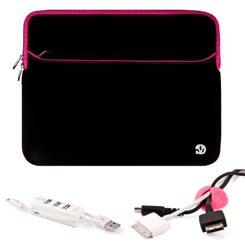 Pink Networking Cables (Black with Pink Trim Slim Protective Soft Neoprene Cover Carrying Case Sleeve with Extra Pocket For Asus ASUSPRO Business Advanced B53F 15.6-inch Laptop + Cable Organizer + 3 Port USB HUB with Micro U)