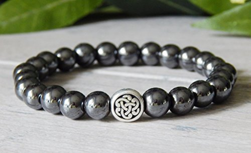 Bracelet Beaded Irish (Celtic Knot Irish Welsch Mens Hematitie Gemstone Beaded Traditional Bracelet)