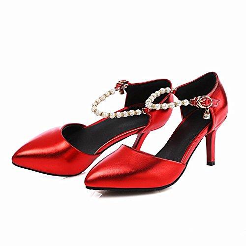 Carolbar Women's Sexy Fashion Beaded Buckle High Heel Stiletto Dress Shoes Red Sa1tUXG