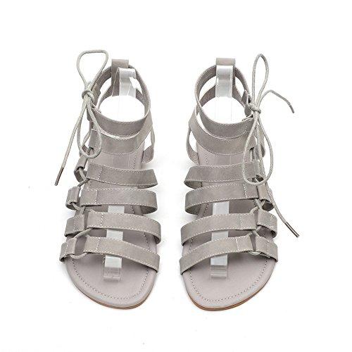 de Mujeres de Sandalias Gran Zapatos Tamaño Correas Sandalias Romanas Cabeza Las Las de Mujeres Gray de de XIE Cómodas Planas Hueca Nuevas Las UWX5q1wnA0