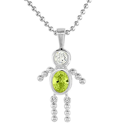 Sterling Silver Birthstone Necklace Zirconia
