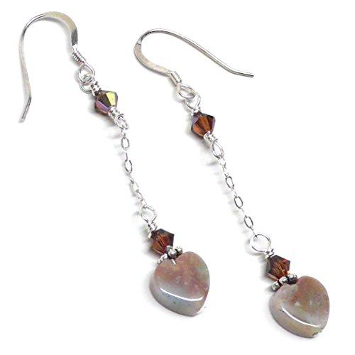 - 8mm Fancy Agate Heart Earrings Chain Dangle Swarovski Crystal Sterling Silver Tan