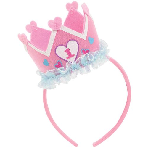 Amscan Girl's 1st Birthday Felt Novelty Headband Party Supplies, 9