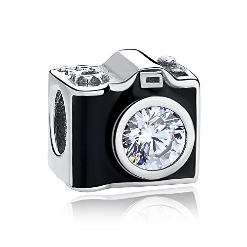 Pandora Jewellery - Authentic 925 Sterling Silver Camera Memory Charm Beads I Love to Travel Charms for Pandora Charms Bracelet & Necklace (B)