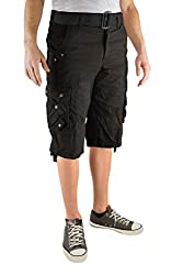 North 15 Mens Cotton Fashion Multi Pocket Belted Cargo Short-16007-Blk-36