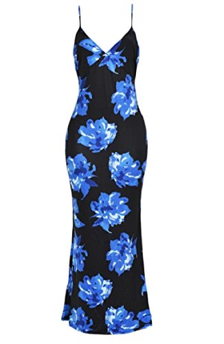 Coolred-femmes Floral Coupe-forme Banquet Maxi Backless Fronde V-cou Bleu Marine Robe Longue