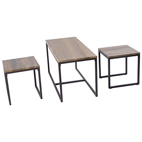 amazon com giantex 3 piece nesting coffee end table set wood