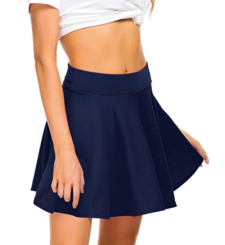(EXCHIC Women Stretch Waist Flared Mini Skater Skirt Casual Pleated Skirts (S, Navy Blue))