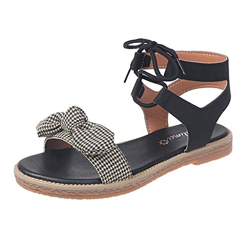 Sandals Houndstooth Bow Indoor Outdoor Pump Flats Flip Flop Slide Slipper Clog Mule Black ()