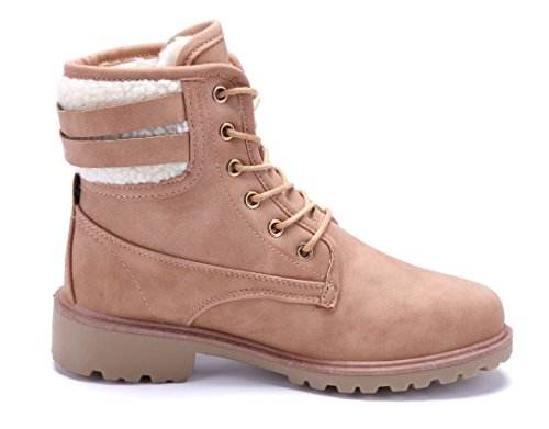 Schuhtempel24 Damen Schuhe Boots Stiefel Stiefeletten Blockabsatz Schnalle 4 cm Rosa