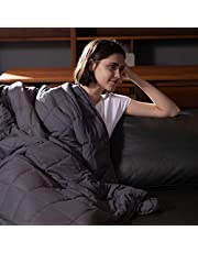 Syrinx Twin Weighted Blanket 15pounds, 48''x72'', Dark Grey for Adults, 100% Breathable Fabric Heavy Blanket with Glass Beads