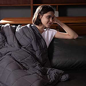 Gut Health Shop 41-vPgW2PUL._SS300_ Syrinx Adults Weighted Blanket 20lbs, 60''x80'', Dark Grey for Queen Size, Breathable Fabric Soft Blanket with Glass…