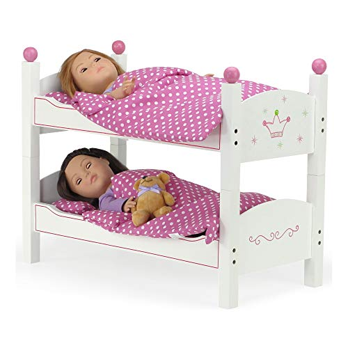 """Emily Rose 18 Inch Doll Furniture   2 Single Beds! - Stackable Doll Bunk Bed - Hand-Painted, Includes 2 Sets of Plush Bedding & Ladder   Fits 18"""" American Girl and My Life Dolls"""